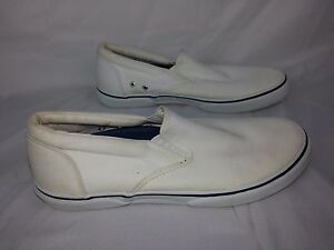 Sperry Top-Sider Men's Size 8 M White Canvas Slip On Shoes