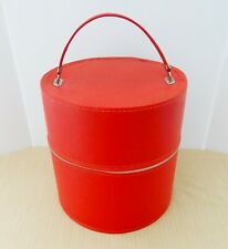 Vtg vinyl double height hat box zippered suitcase travel carrier carrying case