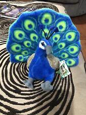 NWT Wild Republic Peacock Plush Blue Green Gray Bird Stuffed Animal