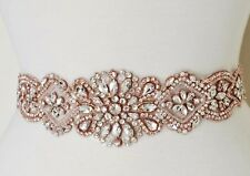 "DIY ROSE GOLD CLEAR CRYSTAL PEARL Wedding  Applique Trim  = 17"" long = DIY!"