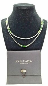 NEW WITH TAGS! MINT! JOHN HARDY Chain Station Necklace-Assort. Green Gems