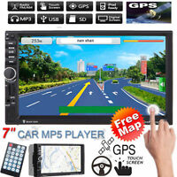 "Map+7"" HD 2 Din Bluetooth Car In-Dash GPS Navi Radio Stereo MP5 TV CD DVD Player"