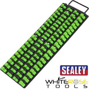 "Sealey Premier Hi-Vis Green 1/4"" 3/8"" & 1/2"" Square Drive Socket Rail Tray"