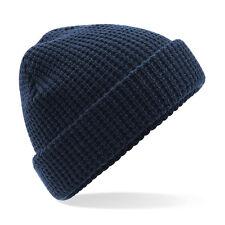 Bonnet tricot gaufré épais bleu marine navy MIXTE hiver ski marque Beechfield