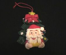 Vintage Santa Claus Ornament Holiday Christmas Decoration Clay Dough/Resin Clay