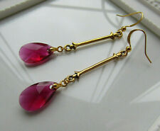 EARRINGS RUBY RED CRYSTAL FLEUR DELYS EARRINGS LONG DROP