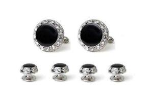 New Black Silver Swarovski Crystal Cufflinks studs Cuff links 1 yr Guarantee USA