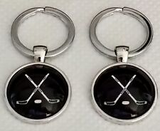 New Ice Hockey Crossed Sticks Design Keyring,Size 28mm Dia.@ Only £4.50p Each !