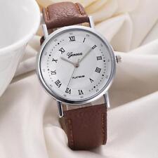 Geneva Herren Armbanduhren Damen Leisure Dial Leder Uhr Analog Quartzuhr Watch