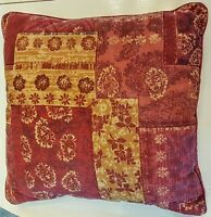 "Accent Throw Pillow 16"" Square Faded Red Brown Paisley Floral Print Home Decor"
