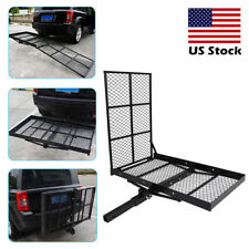 "48"" x 28"" Foldable Hitch Mount Towing Wheel Chair Scooter Carrier Platform Ramp"