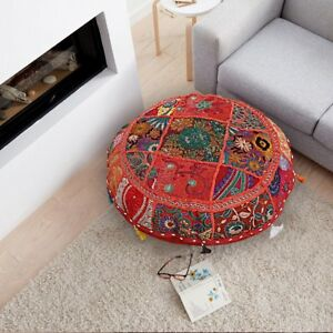 "Red 18"" Indian Bohemian Vintage Floor Pillow Cover Round Patchwork Cushion Cover"