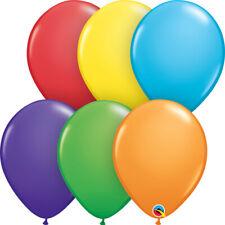 "BIRTHDAY BALLOONS 100 x 11"" QUALATEX BRIGHT RAINBOW ASSORTMENT LATEX BALLOONS"