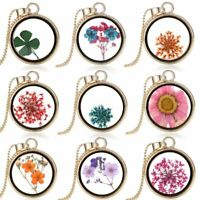 Natural Real Dried Flower Resin Glass Floating Charm Pendant Necklace Jewelry