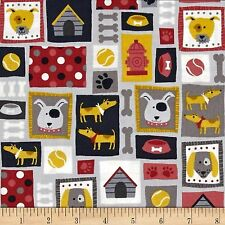 Patch Dogs Montage 100% Cotton Fabric  by Makower  FQ 50cm x 55cm