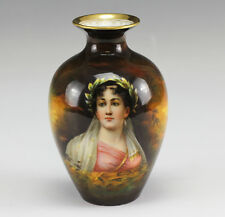 German Art Deco Royal Schwarzburg Hand Painted Porcelain Vase w/ Lady's Portrait