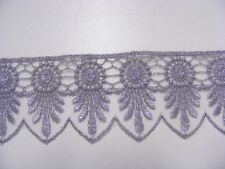 Metallic Silver Embroidered  Nett  Lace Trim  50mm x 3mts (26117)