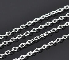 10 Metre 's Of Silver Plated Textured Open Link Cable Chain 5mm x 3mm Links T68
