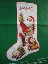 "Christmas Needle Treasures Crewel Stitchery Stocking KIT,SANTA & FRIENDS,800,23"""