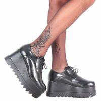 38 scarpe francesine sneakers lacci carrarmato doppia zeppa platform nero
