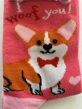 New Corgi Dog Pink Socks Hearts Valentine's Day Crew Women's Pembroke Welsh
