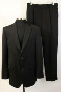CREMIEUX SUIT Black Blazer Jacket Coat SUPER 130s Loro Piana Wool Mens 40 LONG
