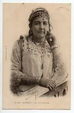 """ALGERIE Algerie française ALGER femme aux bijoux """" la belle Ouridah """" carte 1900"""