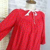 vintage C&A ditsy floral tea dress  red Victorian style boho smock M D162