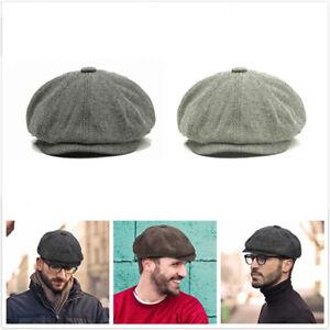 Mens Peaky Blinders Gatsby Tweed Baker Boy Hat Herringbone Newsboy 59cm