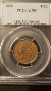 1835 Classic Head Half Cent * PCGS AU53 * Great Strike, Color & Planchet