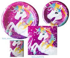 Rainbow Unicorn Birthday Party Kit, Plates Napkins Balloons Tablecloth 107p Lot