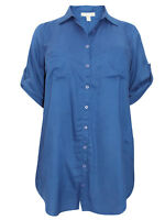 Womens plus size 24 26 34 36  Top Mid Blue shirt extra long length tab detail