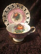 Vintage Tea Cup & Saucer Royal Halsey Very Fine-Fruits(grape/apple/b lackberry)