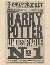 Harry Potter Daily Prophet Undesirable No 1 Flyer/Poster Prop/Replica