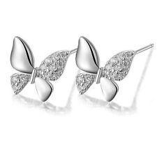 Butterfly Design Jewelry Lady Topaz 925 Sterling silver Stud Earrings Gift L34