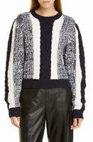 Jason Wu Womens Sweater Black Size Medium M Cable-Knit Colorblock Wool $450 170