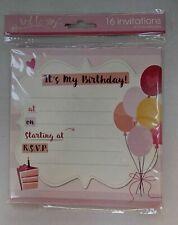 10 PARTY INVITES INVITATIONS BALLOONS BIRTHDAY CAKE envelopes kids adult