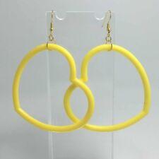 Oversized Large Hot Yellow  Huge Heart Acrylic Earrings G093 9cm Long Gold Hooks