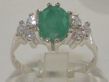 Quality Ladies Solid 925 Sterling Silver Natural Emerald & 0.36ct Diamond Ring