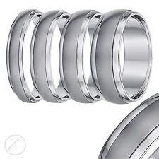 Titanium Wedding Ring Band Brushed Matt & Polished Mens Womens Court Shaped