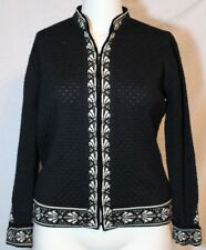 Dale of Norway Solid Black w/White Wool Cardigan Sweater Jacket - XL