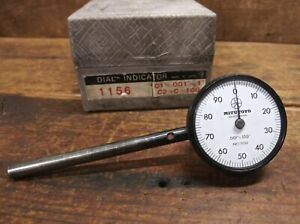 """Mitutoyo No 1156 Plunge Back Dial Indicator. 001""""-.100"""" With Box"""