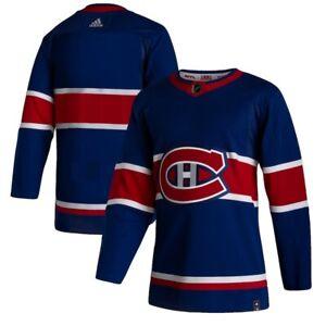 Men's Montreal Canadiens adidas Blue 2020/21 Reverse Retro Wordmark Jersey 44