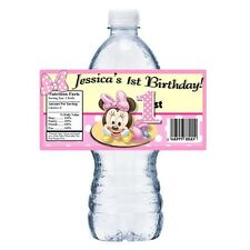 20 BABY MINNIE 1ST PERSONALIZED BIRTHDAY PARTY FAVORS ~ WATER BOTTLE LABELS