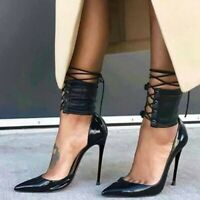 UK Women Stilettos Fashion Shoes High Heel Pointy Toe Ankle Strap Nightclub Pump