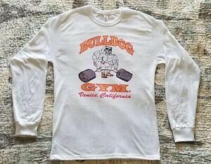 Bulldog Gym Venice California Workout Long Sleeve White / Vintage Gold Shirt
