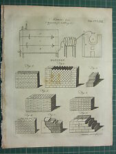 1797 impresión Original Antigua ~ ~ construcción de mampostería diversos aparatos de destilación