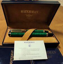 Waterman 100 Patrician Set Fountain Pen & Ballpoint Green Emerald - F 18K (N0S)