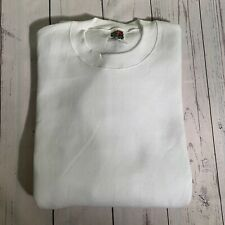VTG 90s Fruit Of The Loom Blank Crewneck Sweatshirt XL White Made In USA