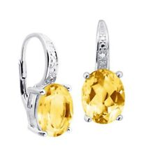 4CT Oval Citrine Drop Dangle Leverback Earrings with Diamonds in Sterling Silver